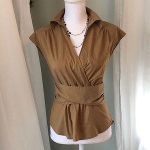 NY&CO Stretch Faux Wrap Top Dark Tan Size 6